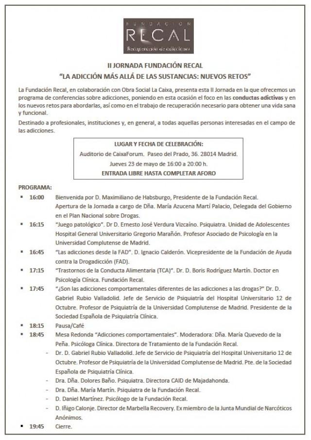 """II JORNADA FUNDACIÓN RECAL: """"LA ADICCIÓN MAS ALLÁ DE LAS SUSTANCIAS: NUEVOS RETOS"""""""